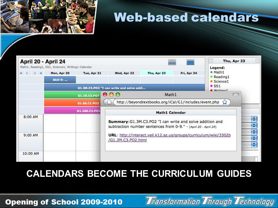 CALENDARS BECOME THE CURRICULUM GUIDES