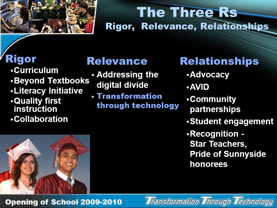The Three Rs Rigor, Relevance, Relationships