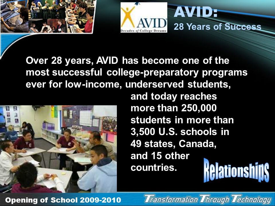 AVID: 28 Years of Success Relationships