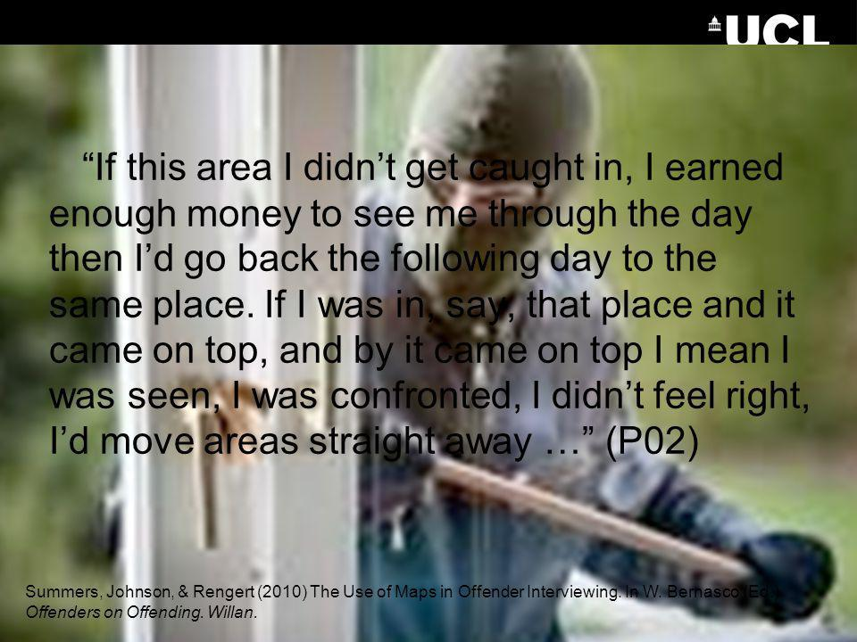 If this area I didn't get caught in, I earned enough money to see me through the day then I'd go back the following day to the same place. If I was in, say, that place and it came on top, and by it came on top I mean I was seen, I was confronted, I didn't feel right, I'd move areas straight away … (P02)