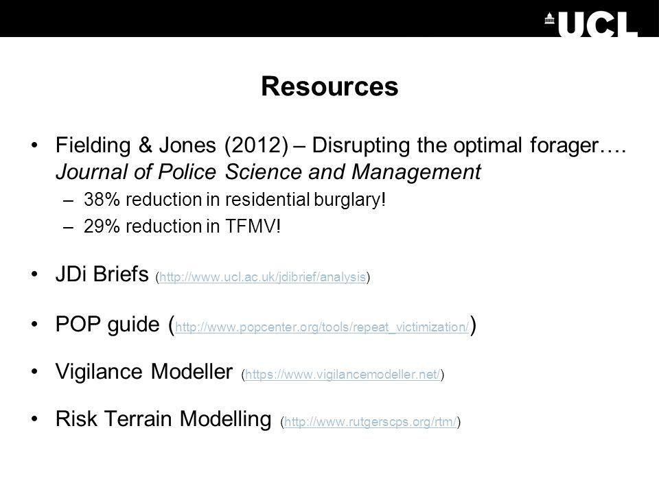 Resources Fielding & Jones (2012) – Disrupting the optimal forager…. Journal of Police Science and Management.