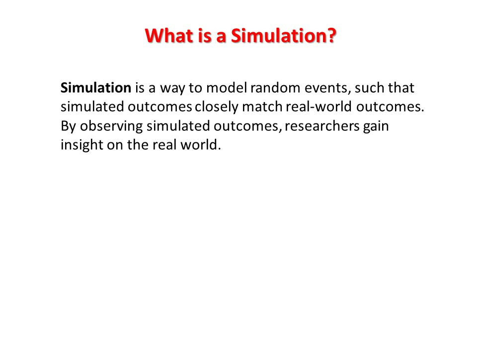 What is a Simulation