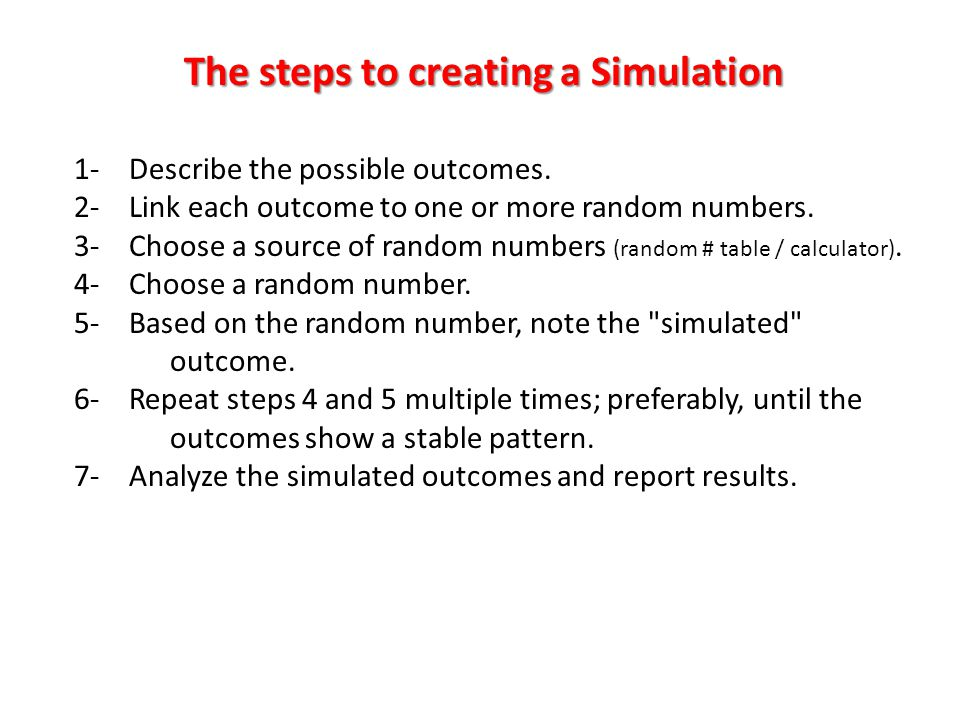 The steps to creating a Simulation