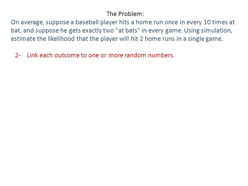 2- Link each outcome to one or more random numbers.