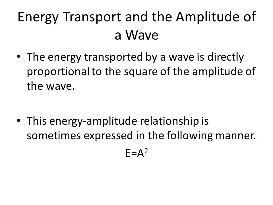 Energy Transport and the Amplitude of a Wave