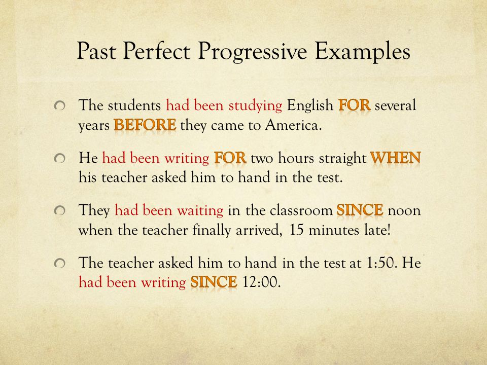 Past Perfect Progressive Examples