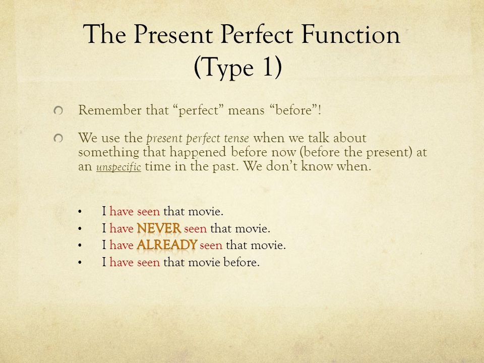 The Present Perfect Function (Type 1)