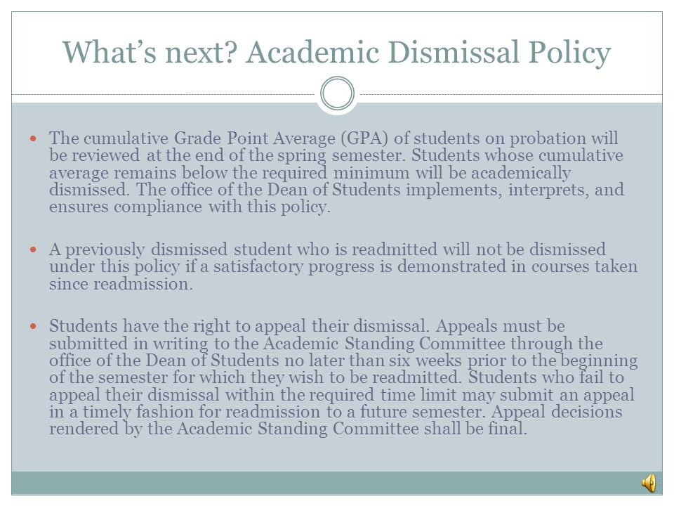 What's next Academic Dismissal Policy