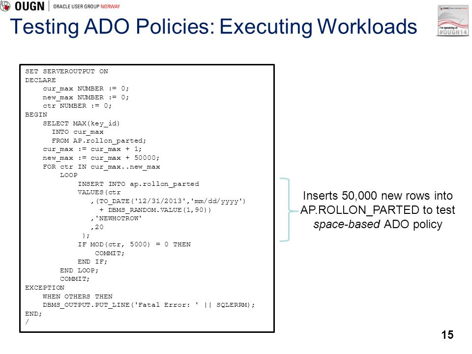 Testing ADO Policies: Executing Workloads