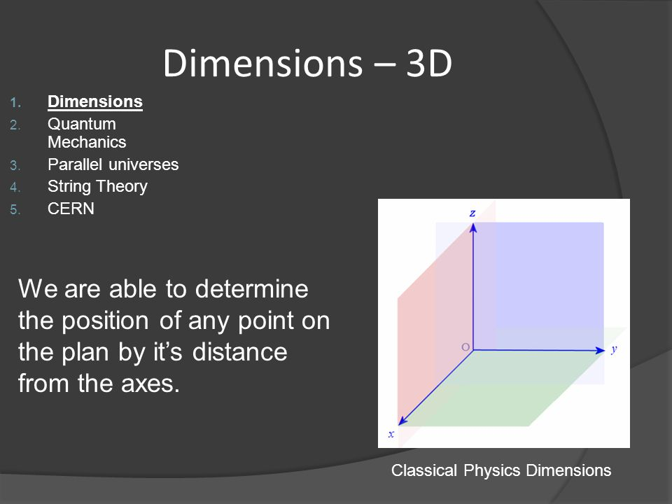 Classical Physics Dimensions