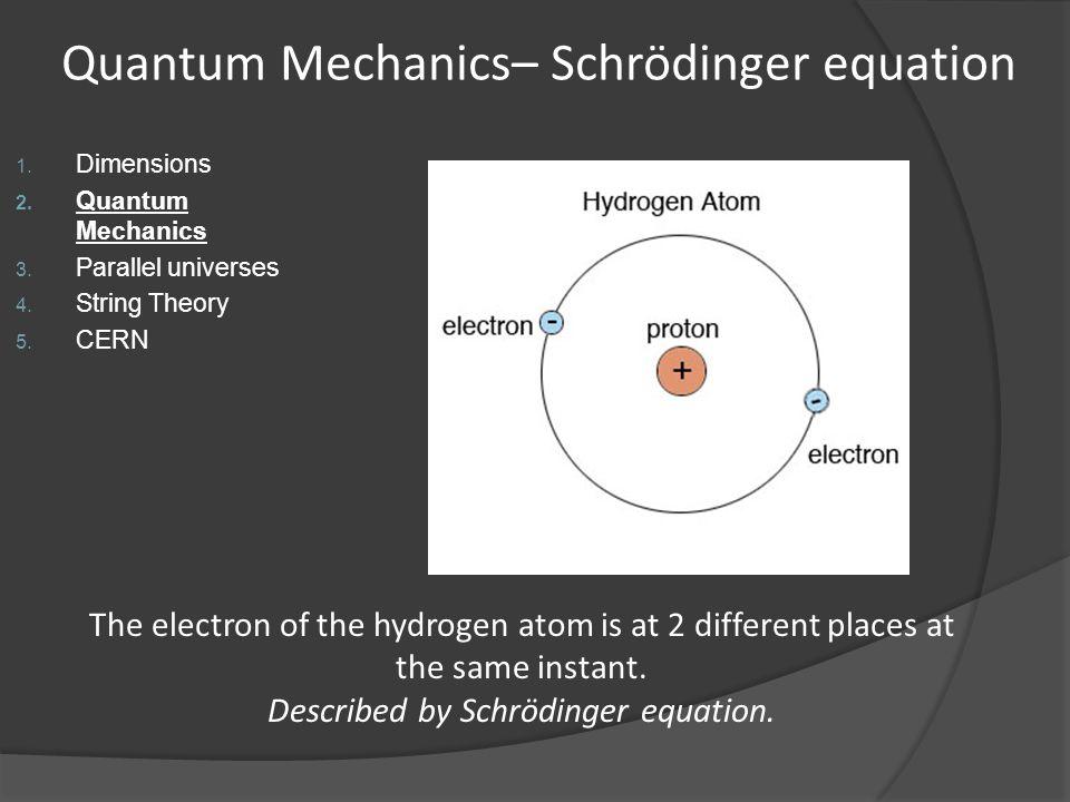 Quantum Mechanics– Schrödinger equation