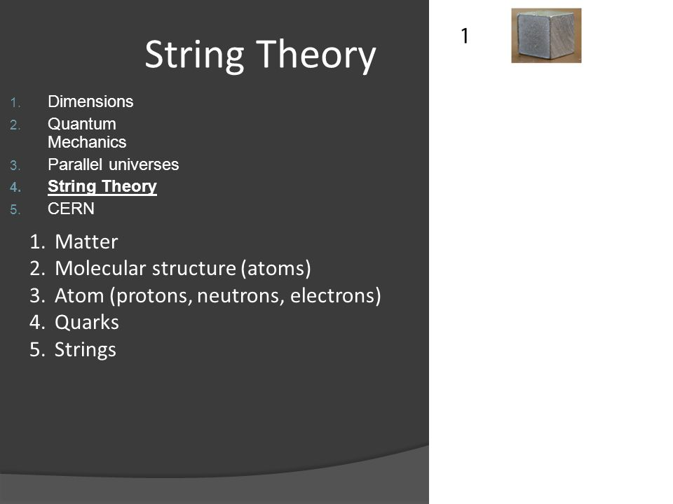 String Theory Matter Molecular structure (atoms)
