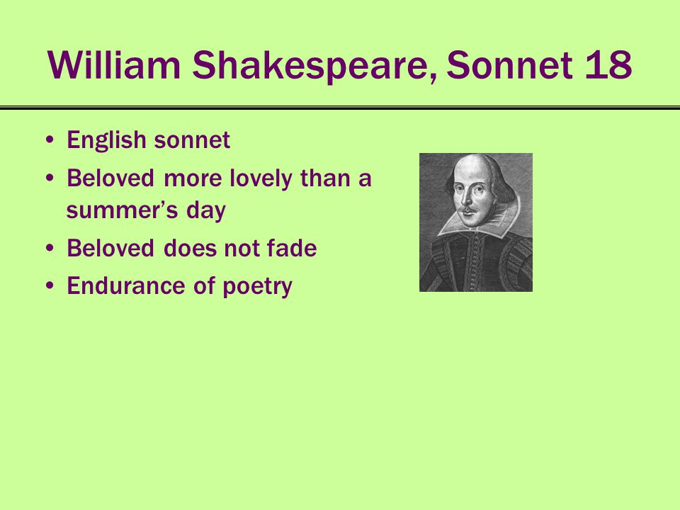 William Shakespeare, Sonnet 18