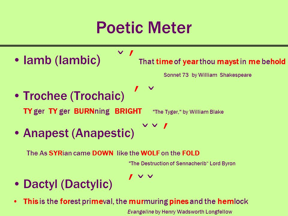 Poetic Meter Iamb (Iambic) ̌ ʹ That time of year thou mayst in me behold. Sonnet 73 by William Shakespeare.