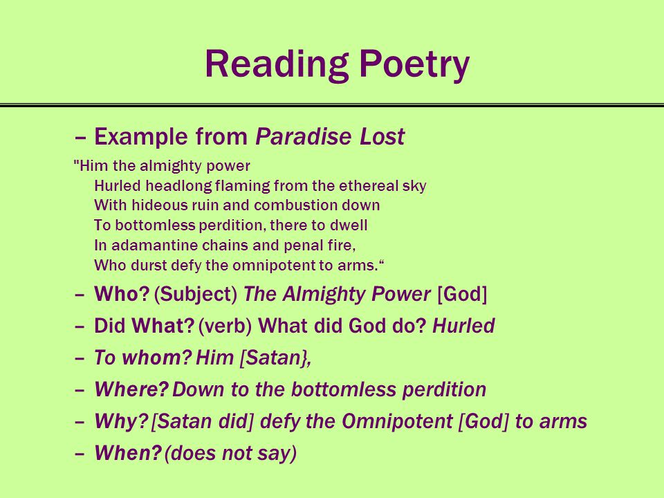 Reading Poetry Example from Paradise Lost