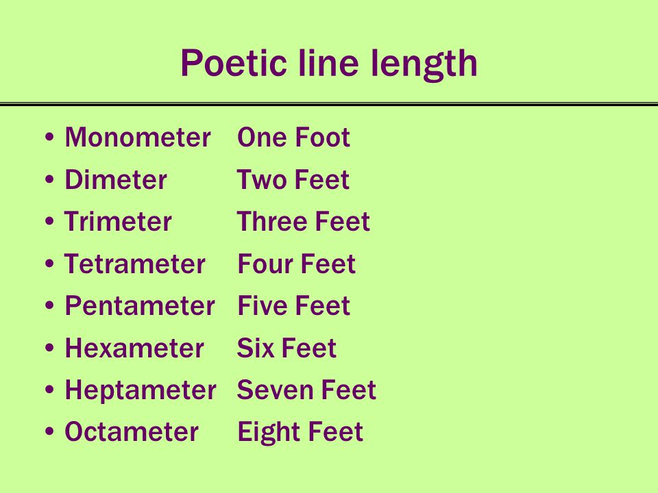 Poetic line length Monometer One Foot Dimeter Two Feet