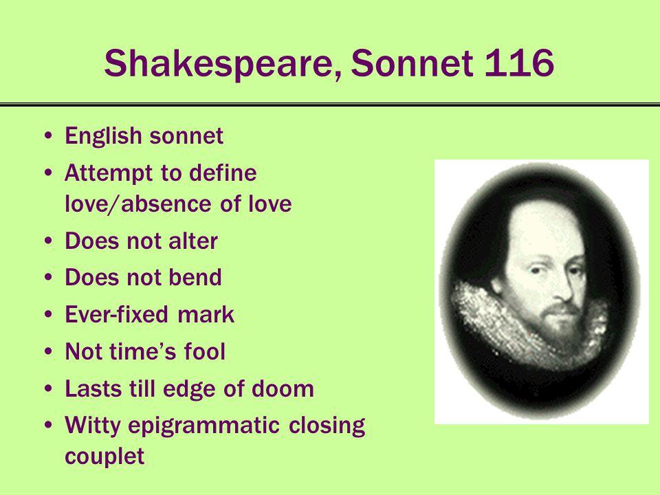 Shakespeare, Sonnet 116 English sonnet