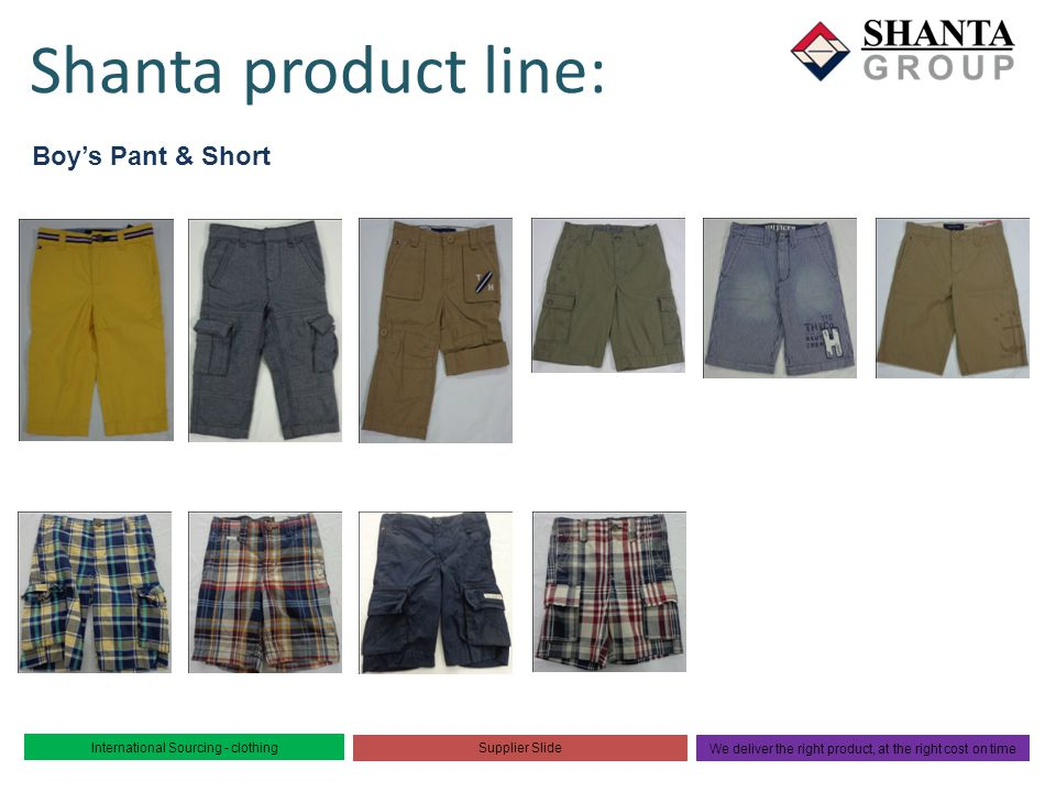 Shanta product line: Boy's Pant & Short