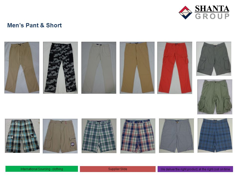 Men's Pant & Short International Sourcing - clothing Supplier Slide