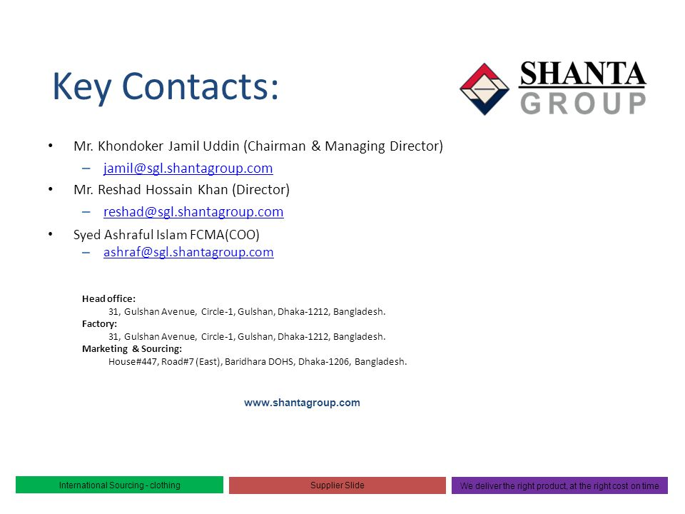 Key Contacts: Mr. Khondoker Jamil Uddin (Chairman & Managing Director)