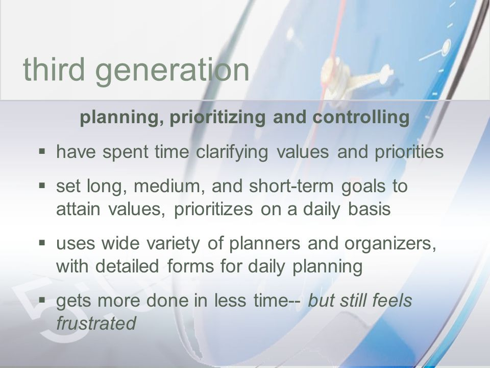 planning, prioritizing and controlling