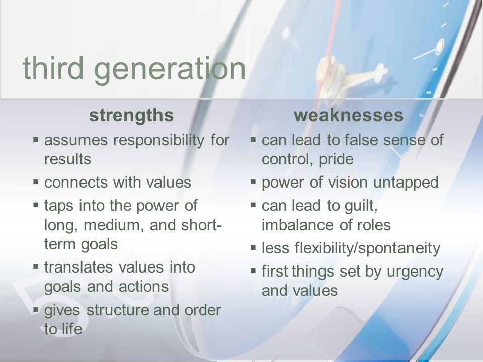 time third generation strengths weaknesses