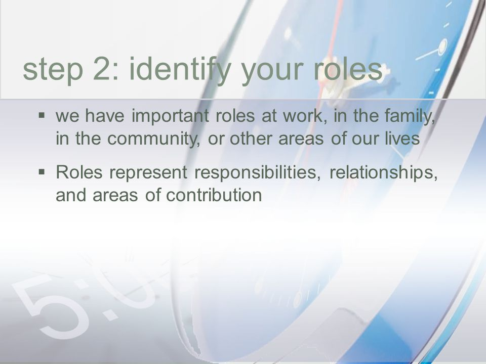 time step 2: identify your roles