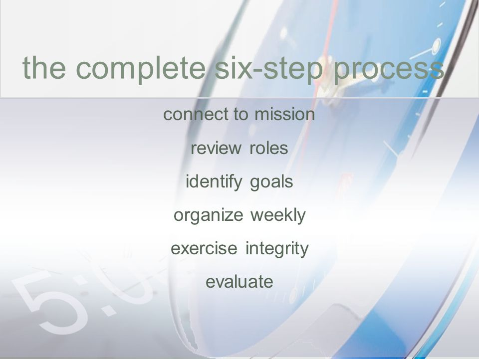time the complete six-step process connect to mission review roles
