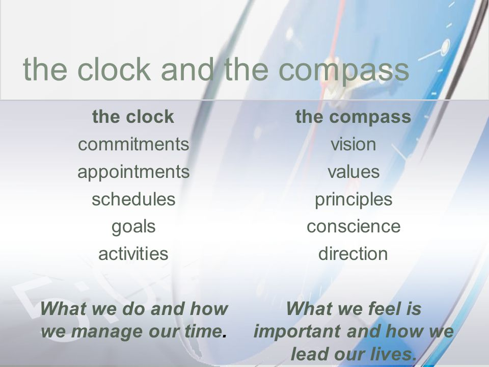 time the clock and the compass the clock commitments appointments