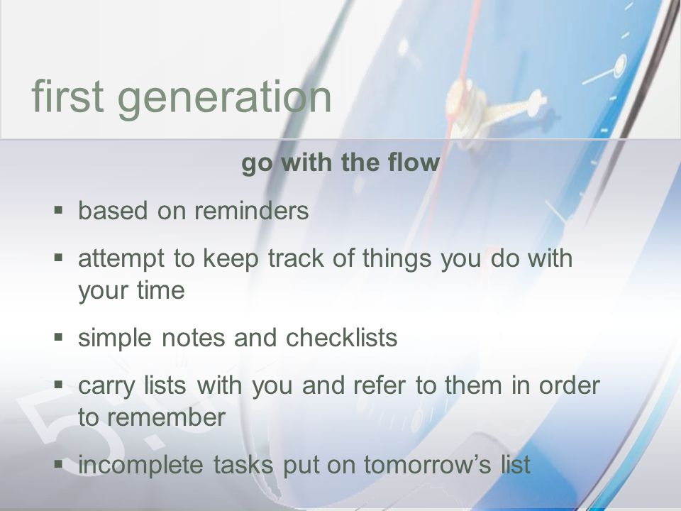 time first generation go with the flow based on reminders