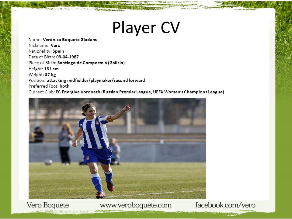 Player CV Nickname: Vero Nationality: Spain Date of Birth: 09-04-1987