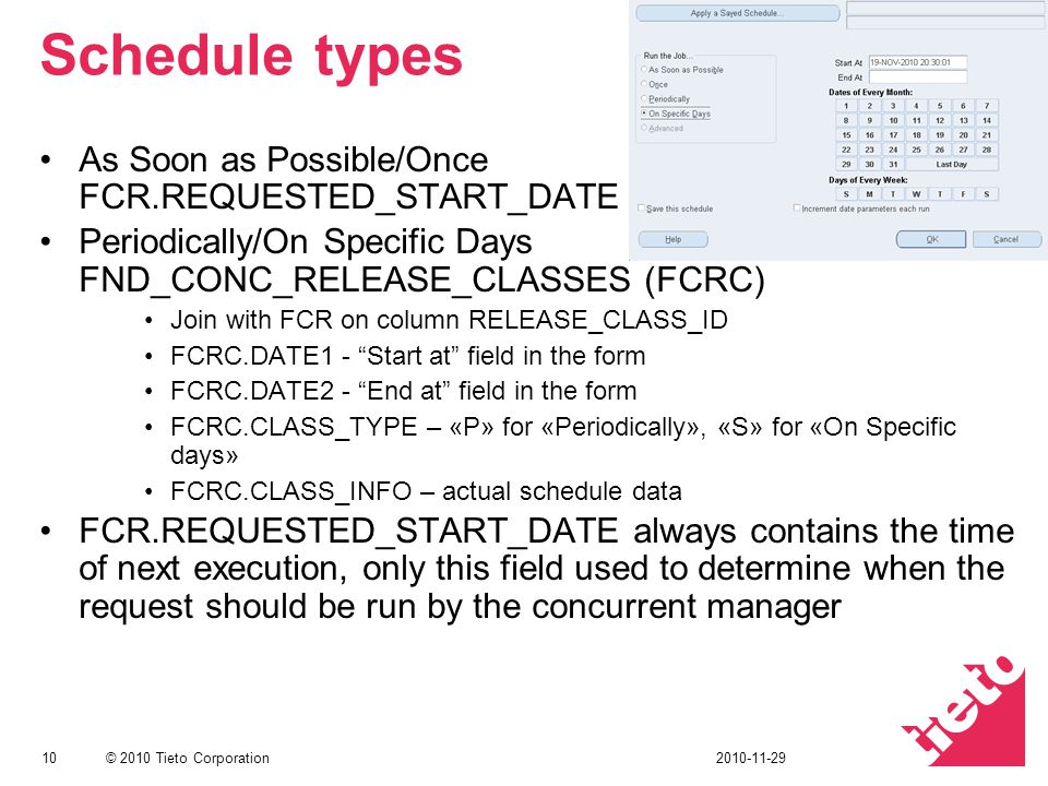 Schedule types As Soon as Possible/Once FCR.REQUESTED_START_DATE