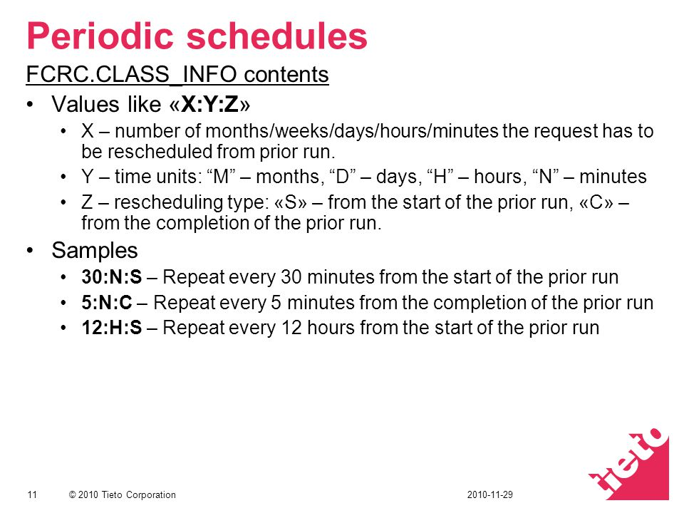 Periodic schedules FCRC.CLASS_INFO contents Values like «X:Y:Z»