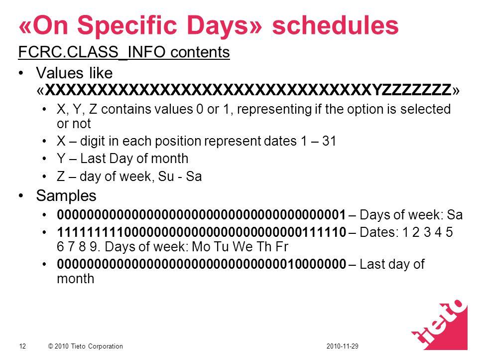 «On Specific Days» schedules