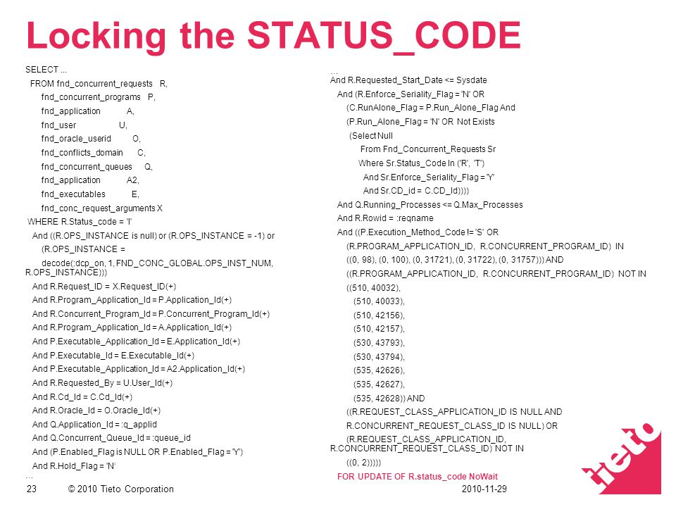Locking the STATUS_CODE