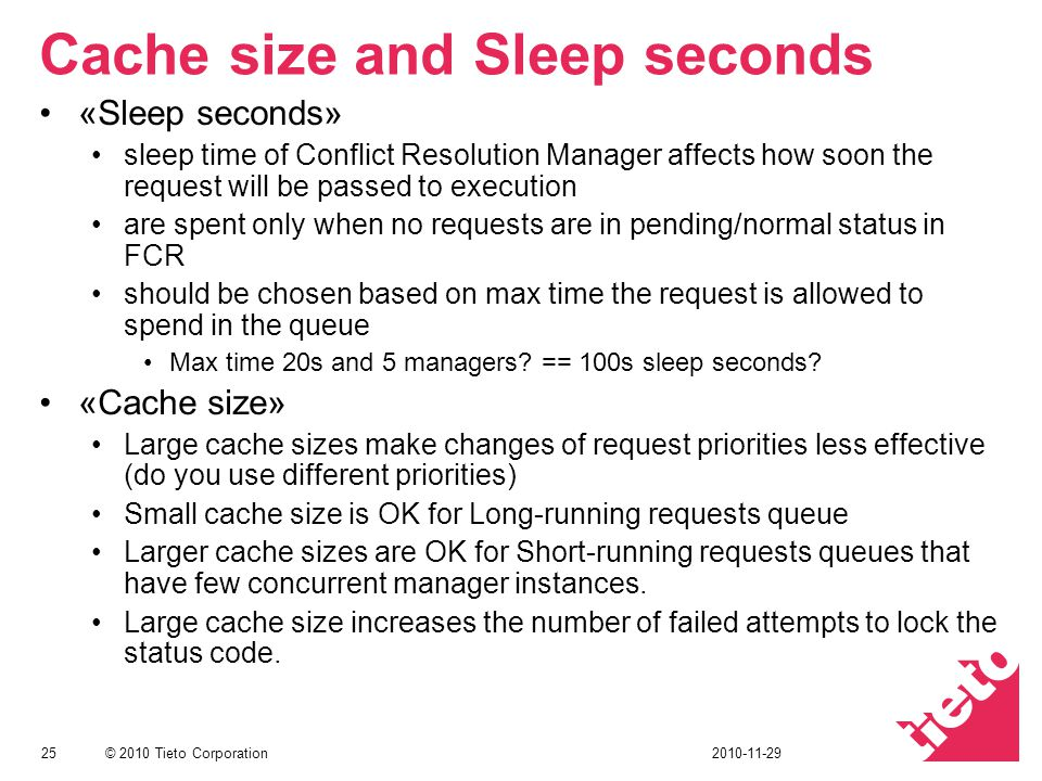 Cache size and Sleep seconds