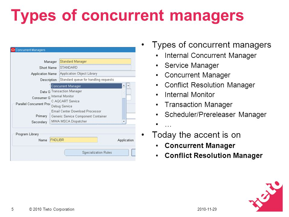Types of concurrent managers
