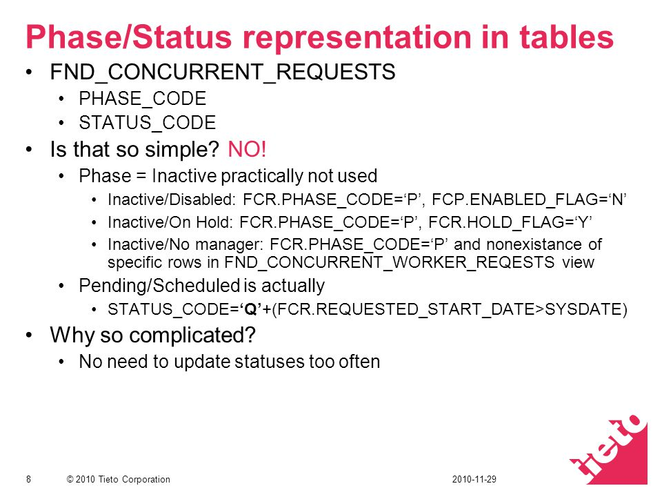 Phase/Status representation in tables