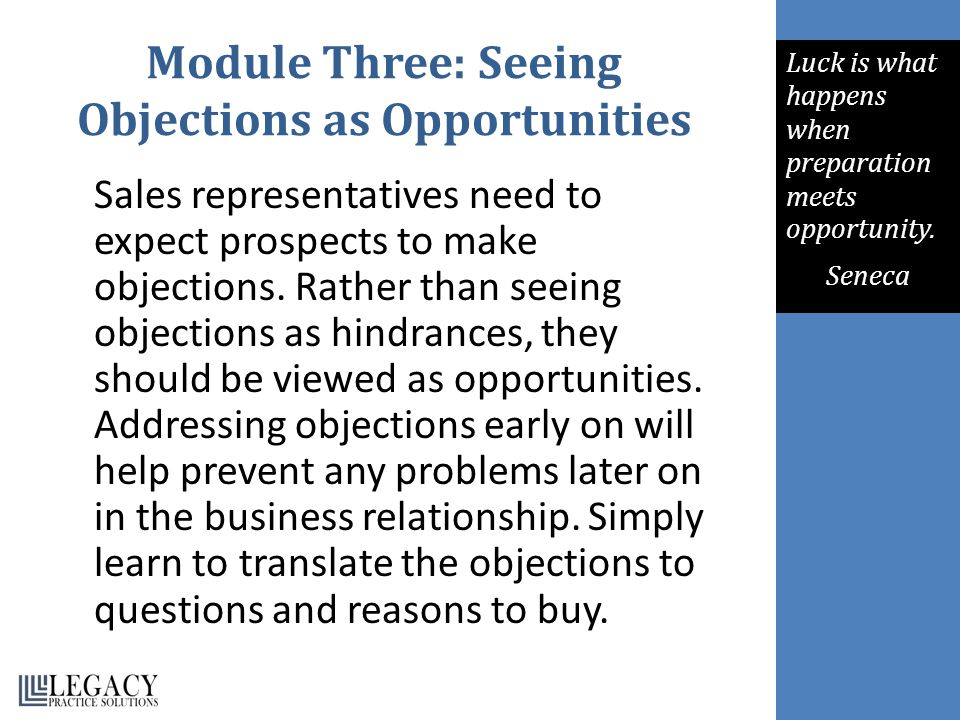 Module Three: Seeing Objections as Opportunities