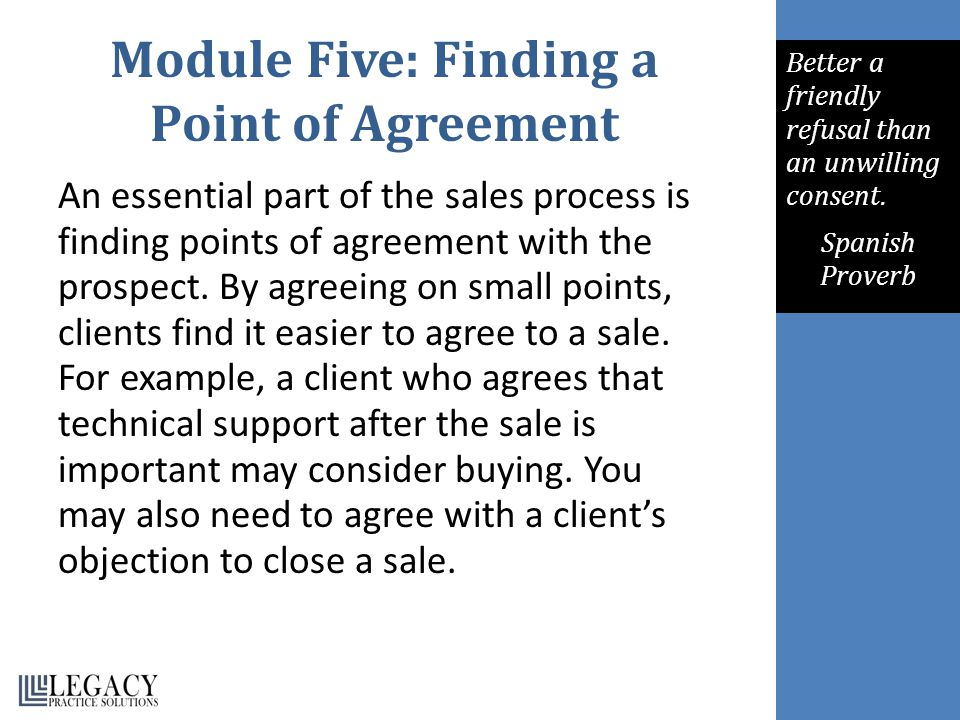 Module Five: Finding a Point of Agreement