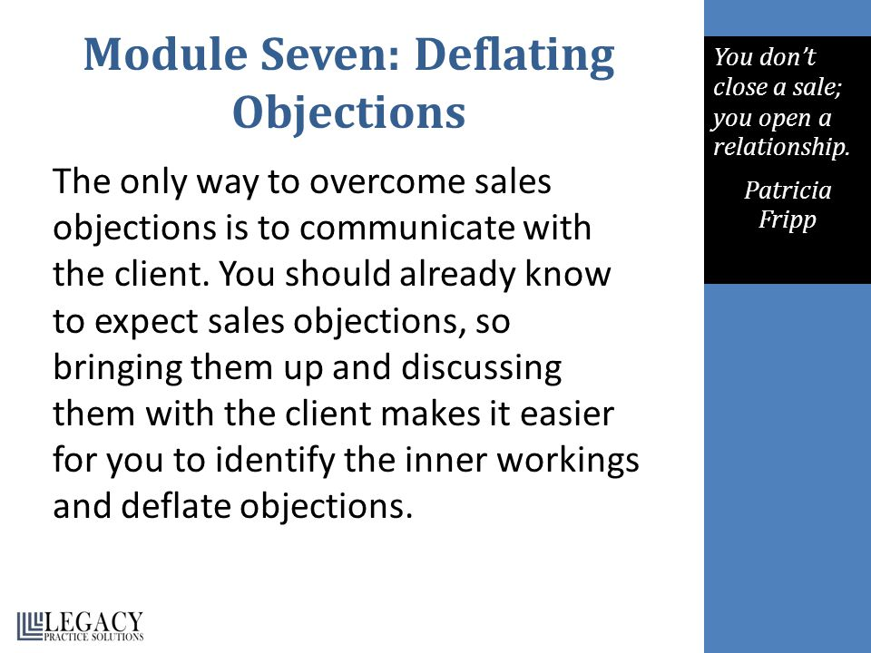 Module Seven: Deflating Objections