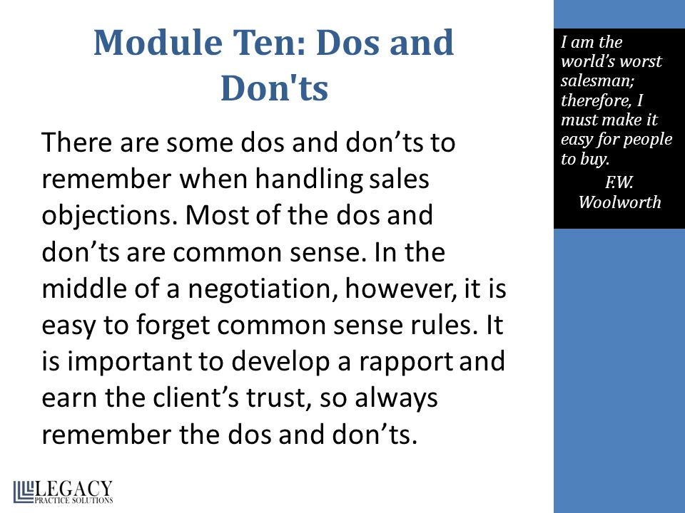 Module Ten: Dos and Don ts