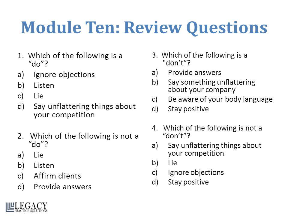 Module Ten: Review Questions