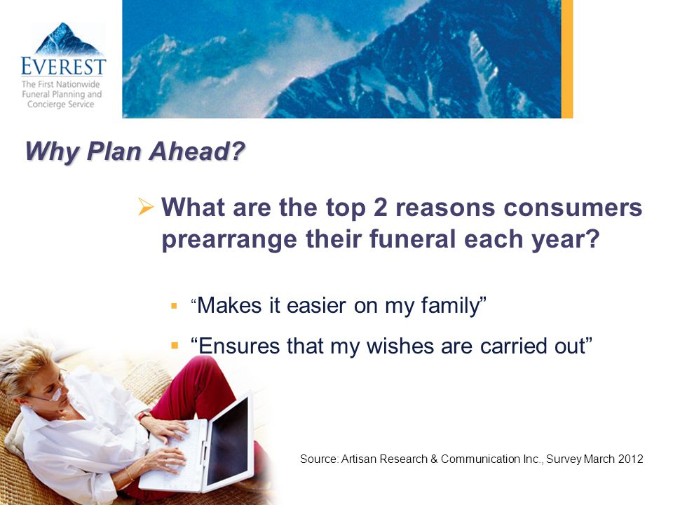 Why Plan Ahead What are the top 2 reasons consumers prearrange their funeral each year Makes it easier on my family