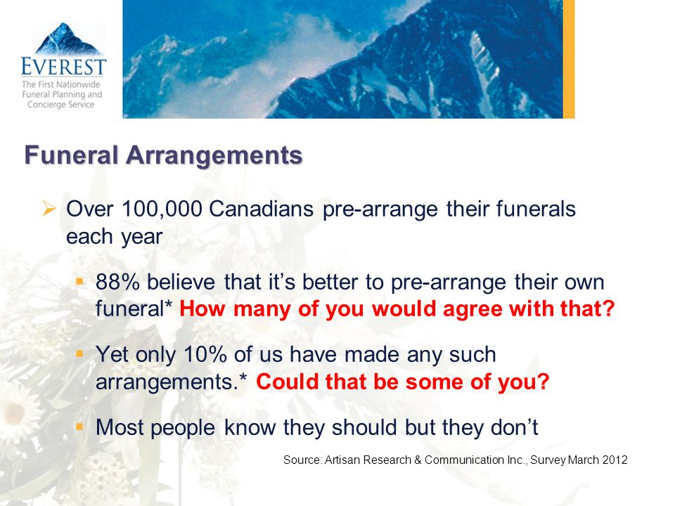 Funeral Arrangements Over 100,000 Canadians pre-arrange their funerals each year.
