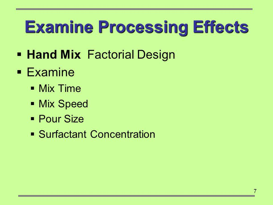 Examine Processing Effects