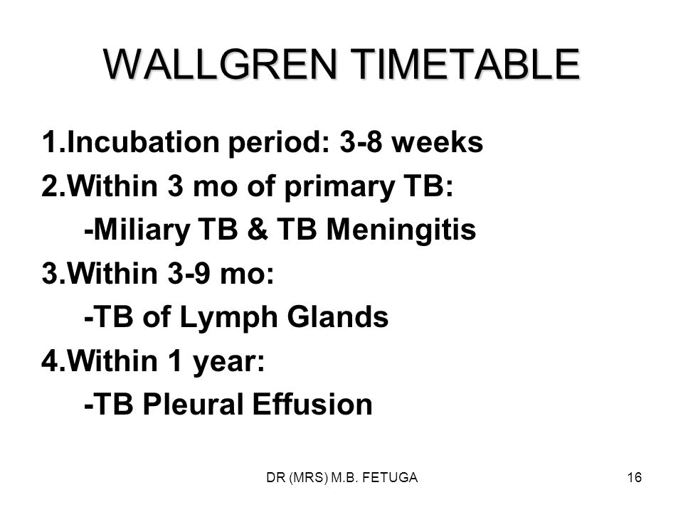 WALLGREN TIMETABLE 1.Incubation period: 3-8 weeks