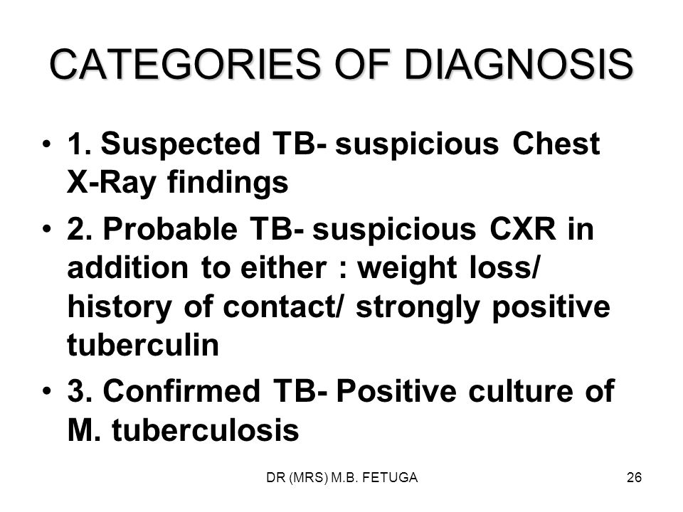 CATEGORIES OF DIAGNOSIS