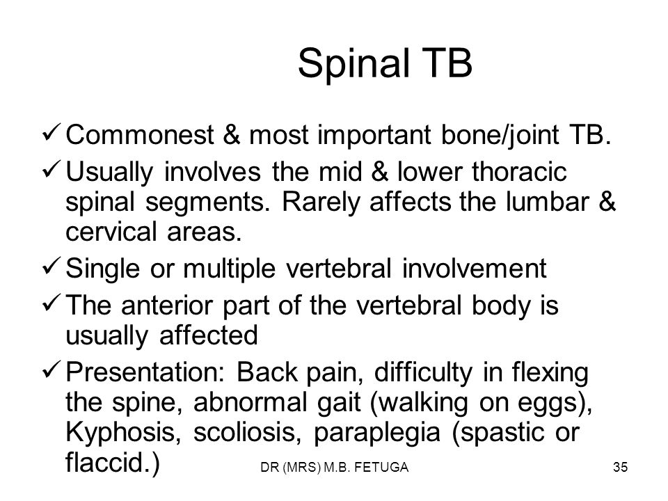 Spinal TB Commonest & most important bone/joint TB.