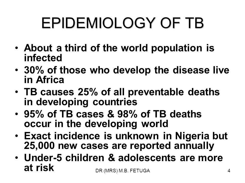 EPIDEMIOLOGY OF TB About a third of the world population is infected